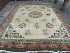 Antique Hand Made Art Deco Chinese Oriental Green White Wool Carpet 390x295