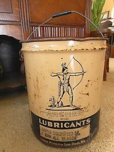 Archer Oil Can Petroleum Lubricants Pail Gas Collectible Large1950's? Omaha 40Lb