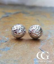 Fine 9ct White Gold Ladies Half Ball Textured Stud Earrings