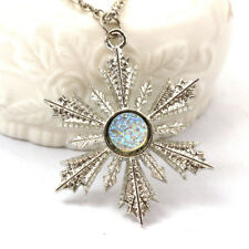 Frozen Flower Silver Necklace Pendant Snowflake Christmas Crystal Vintage lady