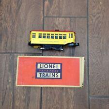 POSTWAR LIONEL No. 60 LIONELVILLE RAPID TRANSIT TROLLEY IN ORIGINAL BOX