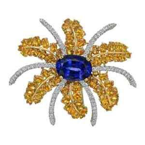 36.60 CT Blue Sapphire & Yellow Tanzanite With CZ Women's Fireworks Spray Brooch