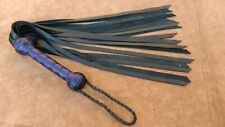 Cowhide leather Black and Purple handle and 18 Leather Tails Flogger Bull Whip