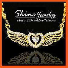18K GOLD FILLED HEART WING LAB DIAMONDS XMAS GIFT LADIES SOLID PENDANT NECKLACE