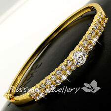 18K 18CT Yellow GOLD GF Double Row Bangle Bracelet with  Crystal S625