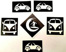 5 x STENCILS-GLITTER TATTOOS,BODY ART- VW beetle, campervan &surfer best quality