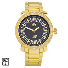 Men's CZ Bling 14K Gold Plated Iced Fashion Metal Heavy Band Watch WM 8675 GBK