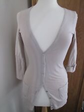 Womens/Girls River Island Long Beige Cotton Cardigan Long Slv Pockets V Neck 6