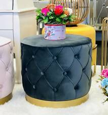 Foot Stools Ottomans with Gold Metal Bases 48*48*41(Dark Grey Velvet)