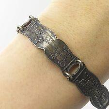 """Antq Israel 925 Sterling Silver Judaica Tomb Of Rahel Link Bracelet 6 3/4"""""""