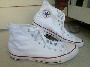 Mens Converse white canvas high top fashion sneakers sz 11