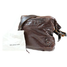 BALENCIAGA The day Crossbody Shoulder Bag Brown Italy Leather Authentic #Q824 W