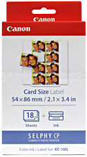 Genuine CANON KC-18IL Photo Printer Ink/Paper Set for SELPHY CP1200 910 900 800