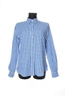 Women's GANT Blue Cotton Check Fitted Long Sleeve Shirt Size 42