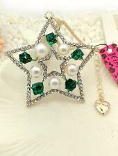Classy NWT Betsey Johnson Necklace Christmas Gold Silver Emerald Green Pearl 131
