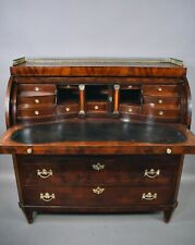19th Century Rare Flame Mahogany German Roll Top Secretary Desk