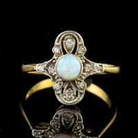 OPAL PASTE STONE CLUSTER RING 9CT GOLD ON SILVER