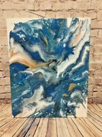 "Abstract Original  Acrylic Pour Painting on Canvas Wall Art Home Decor 16"" x 20"""