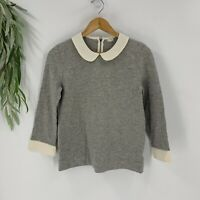 J.Crew Womens Sweater Peter Pan Collar Gray White Size Small Casual Cotton Knit