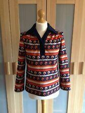 Vintage 1970s pull over Top shirt blue orange Long Sleeve Floral Stripe UK 8 10