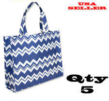 Qty 5 Eco Friendly Bags Grocery Bag Tote Promotion Shopping Beach Printed Blue