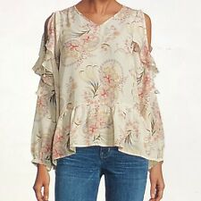 Buffalo Jeans Long Sleeve Floral Ruffle Top- (N02) -Misses Size : M