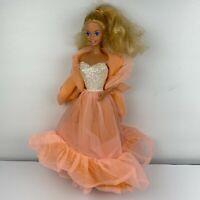 Vintage 80's Peaches N Cream Barbie Doll Beautiful Orange Chiffon Dress Mattel