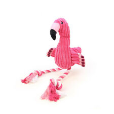 BH_ Cartoon Flamingo Tough Cotton Rope Plush Pet Dog Chew Toy Knot Squeaky Doll