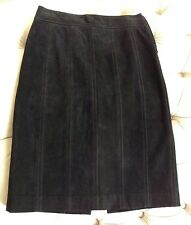 DKNY Black Genuine Suede Leather Skirt ~ Straight ~ Sz 2 ~ Below Knee