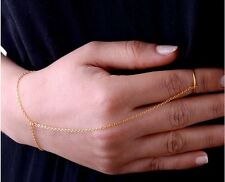 fashion Gold  Plated Metal Simple Slave Chain Hand Harness Bracelet Ring Jewelry