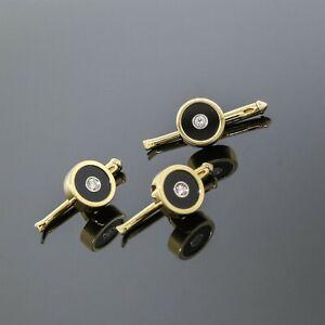 Tiffany&Co. Men Jewelry 18K Yellow Gold Diamond Black Onyx Shirt Stud Tuxedo Set