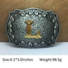 Fashion Mens Western Cowboy Texas Rodeo Initial L Solid Steel Belt Buckle Gift