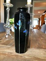 "Otagiri Japan Blue Iris Ceramic Vase 11"" Black W/24K Gold Trim"