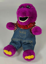 "Vintage Barney Doll Plush 8"" Stuffed Dinosaur Golden Bear Co Farmer Overalls"
