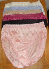 Six Hi Cut Panties, Hanes, Silky Nylon, Feminine Lace, Sz. 7 (L), Multi Colors