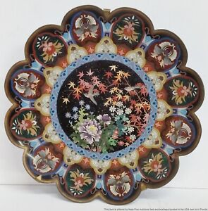 Huge Antique Asian Cloisonné Enamel Charger Plate Birds Flowers Foliage to Hang