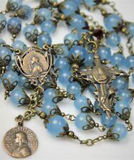French St. Joan of Arc Blue Aquamarine Gemstone  Antique Bronze Handmade Rosary