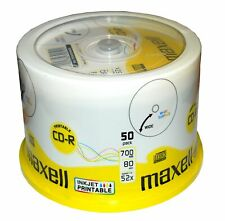 MAXELL CD Rohlinge Inkjet bedruckbar CD-R 80 XL 52x speed 700MB 50er Spindel