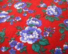 "Red Corduroy Blue Flowers 82"" X 43� Estate Sale Fabric"
