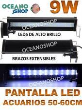 PANTALLA REGULABLE ACUARIO 50-60cm LUZ LED de ACUARIO 9W POTENTE DULCE O MARINO