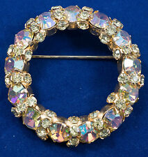 Warner Yellow AB Brooch With Lots Of Sparkle Gold Tone Back 2231