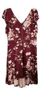 TAYLOR Womens 16 Burgundy Floral V Neck Fit + Flare Dress