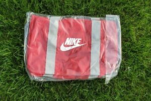 Rare new ! Vintage NIKE Spell Out Swoosh red & gray Gym Duffle Bag 80s gray Tag