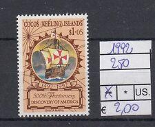Cocos Islands 1992 Anniversario scoperta dell'America 250 MNH