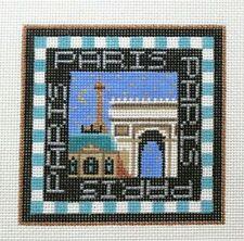 Amanda Lawford Paris Travel Square Handpainted Needlepoint Canvas