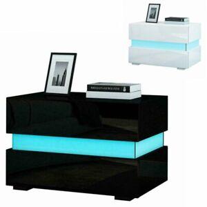 High Gloss LED Light End Table Bedside Cabinet Sofa Bedroom Small 2 Drawer Desk