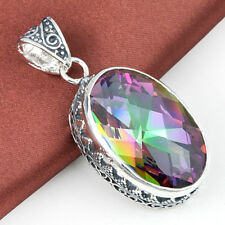 32 Ct Huge Vintage Natural Rainbow Mystical Topaz Gems Silver Necklace Pendant