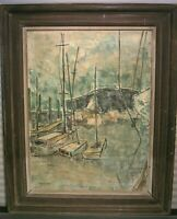 Mid Century Oil Painting Sailboat Harbor Signed M. Kleinman Framed