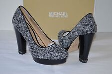 New $150 Michael Kors Sabrina Pump White/Black Tweed Pumps Patent Leather