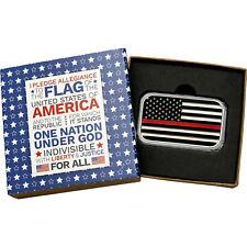 American Flag Red Line 1 oz .999 Silver Bar Enameled (Pledge box)